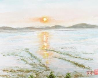 """Aquarelle """"couché de soleil sur le fleuve St laurent"""", originale, peinte à la main. Format A5."""
