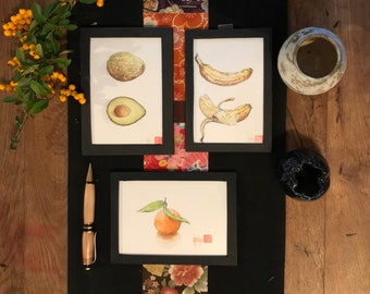 Watercolors in the format of postcards, clementine, banana, avocado, originals painted by hand.