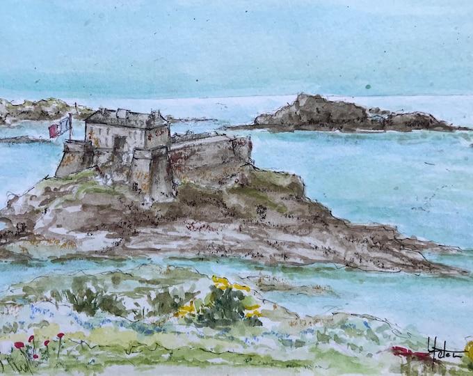 Original watercolor, the little Bé de St Malo. Format 13x20 cm (5x7.8 Inches). Hand-painted.