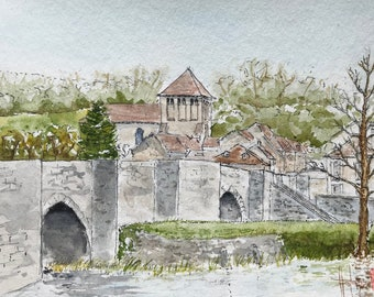 "Painting in watercolour, Abbey and Roman bridge of Moutier-d'Ahun. Original hand-painted. 13x18cm (5x7"")."