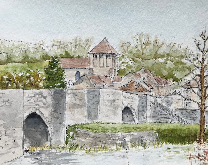 """Painting in watercolour, Abbey and Roman bridge of Moutier-d'Ahun. Original hand-painted. 13x18cm (5x7"""")."""