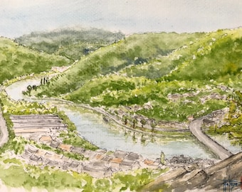 Original watercolor format A5, Valley of the Meuse and Semois, Monthermé. Hand painted painting.