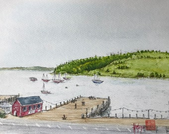 Original watercolor, Lunenburg Harbour, Canada. Original painting Painted by hand. A5 format.