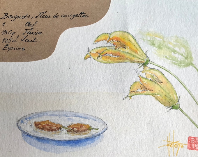Watercolor, zucchini flower. Table recipe of donuts for kitchen decoration.