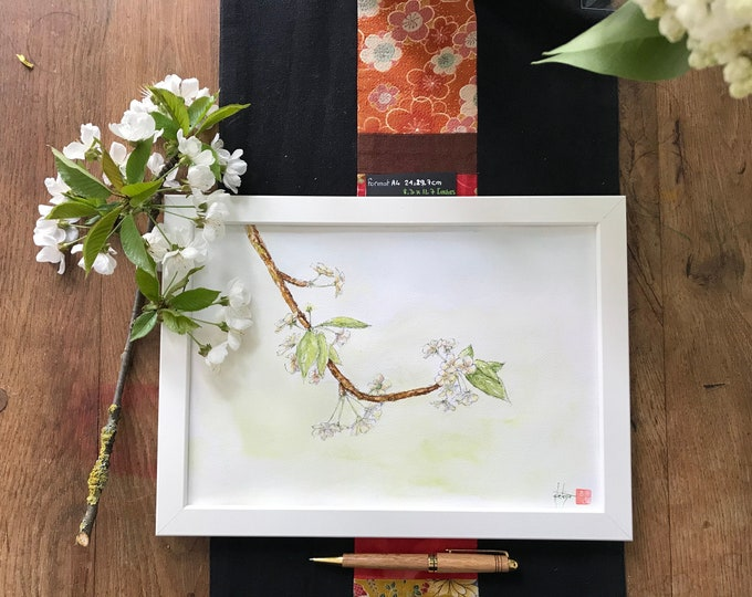 Watercolor, cherry blossom. Original, hand-painted. For Mother's Day, birthday, Valentine's Day.