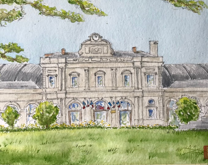 Watercolor, Gare de Reims, original painting painted by hand.