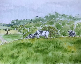 Original watercolor A5 , cows in a meadow. Original hand-painted painting A4.