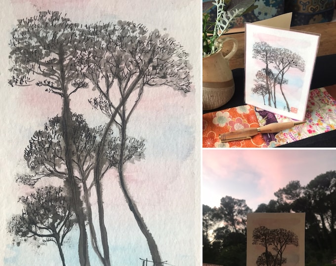 Hand painted map, umbrella pines at sunset. Postcard format card.