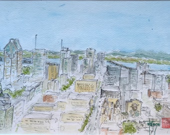 Watercolor seen from Montreal, from the Royal Mount. Original hand-painted.