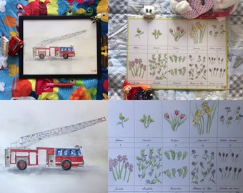 """Duo of original watercolors for children's room """"a fire truck"""" and """"a nursery rhyme of flowers"""". Format A3"""