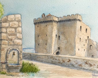 Original watercolor, Fortress of Saint-Honorat, Canne Provence, Original painting painted by hand.