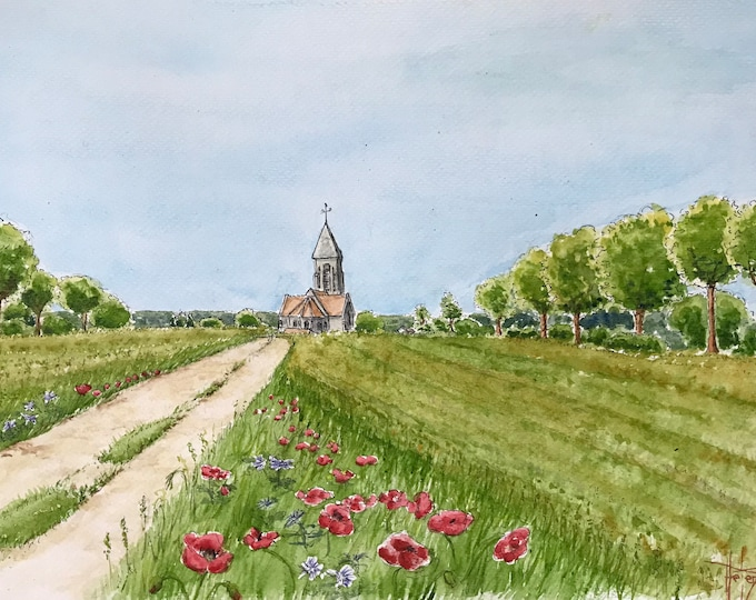 Watercolor A4, Church of Paissy, village of France, Original painting painted by hand. 30x40Cm frame