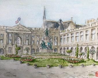 Watercolor, Place Royale Reims, original hand painted, watercolor format A5