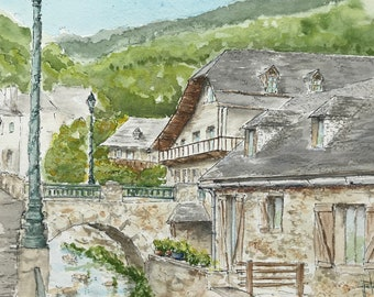 Painting in watercolor, village of the Pyrenees, village of None. Original hand-painted.