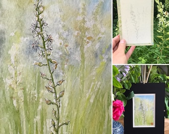 Watercolor format postcard A6, wild flower of the woods. original hand-painted painting.