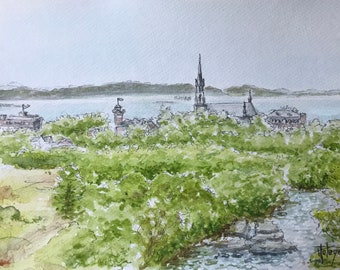 Watercolor A5 format, view of a Quebequoise city, Canada. Original hand-painted.