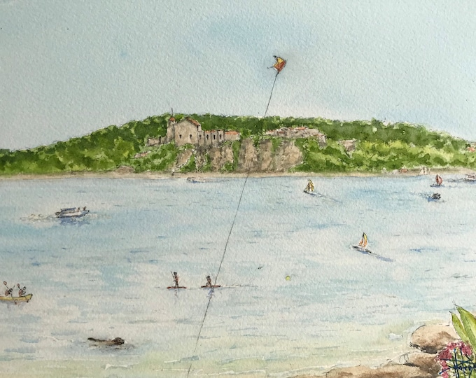 Original watercolor, the island of the iron mask, Cane. Original hand-painted painting.