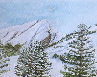 Original watercolour painting, snow-capped mountains, Alps. Hand-painted.
