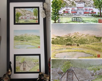 Triptych of original watercolours, the Pyrenees. Three framed postcard formats, Hand-painted.