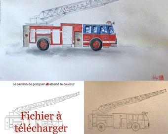 Le camion de pompier à colorier. A télécharger.