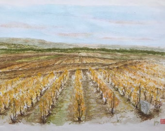 Original watercolor, the Hills of Champagne, Verzenay in Autumn. Hand-painted. A3 format