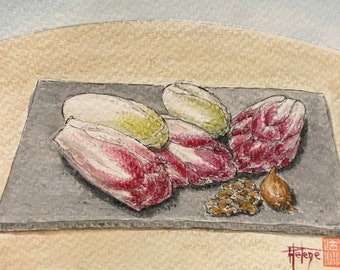 Watercolor, red endives. Postcard format. Original. Hand-painted.