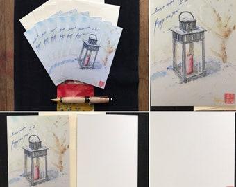 Lot de cartes de vœux 2021, imprimées aquarelle lanterne sous la neige.