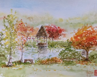 Painting in watercolor, forest lake in autumn, original hand-painted.