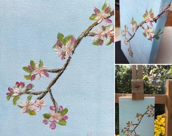 Huile sur toile, Hanami, originale peinte à la main. Format 12x18cm.