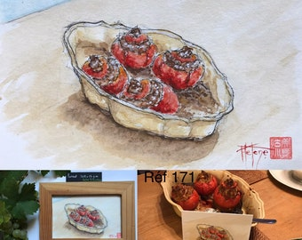 Watercolor, stuffed tomatoes, original, hand painted, postcard format.