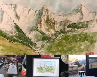 Paintings of original sketches in watercolor, the French Alps.