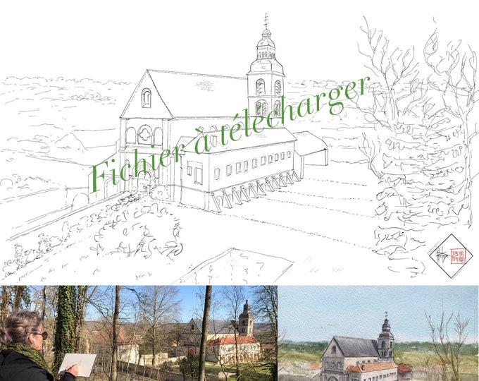 l'abbaye de Hautvillers en champagne, à colorier. Fichier à télécharger