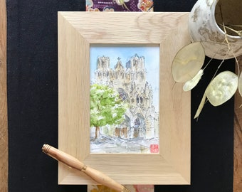 watercolor postcard format, Cathedral of Reims. Hand painted painting.