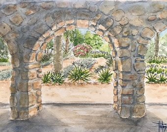 Original watercolor A5, garden of the abbey of the island of St Honorat, hand painted painting.