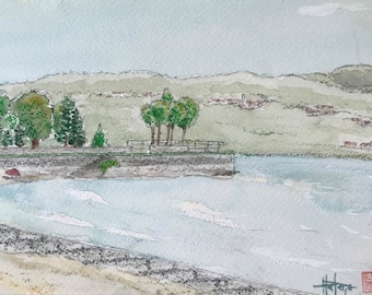 Original watercolor painting beach Laveno-monbello Lake Maggiore. Lombardy Italy. Hand-painted.