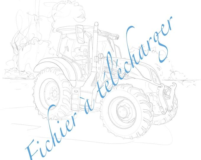 Dessin numérique à colorier d»un tracteur.