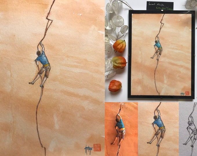 Original watercolor, climbing in crack. Hand-painted painting.