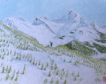 Original watercolor, Mount Charvin under the snow, Hand-painted painting.