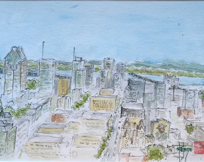 Watercolor seen from Montreal, Mount Royal. Original hand painted painting.