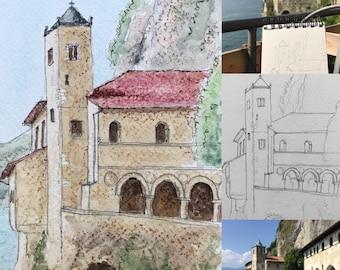 Original watercolour painting, postcard formatSanta Caterina del sasso. Lombardy Italy. Hand-painted.