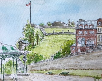 Painting in watercolor, Dufferin Terrace in Quebec City . Original hand-painted.