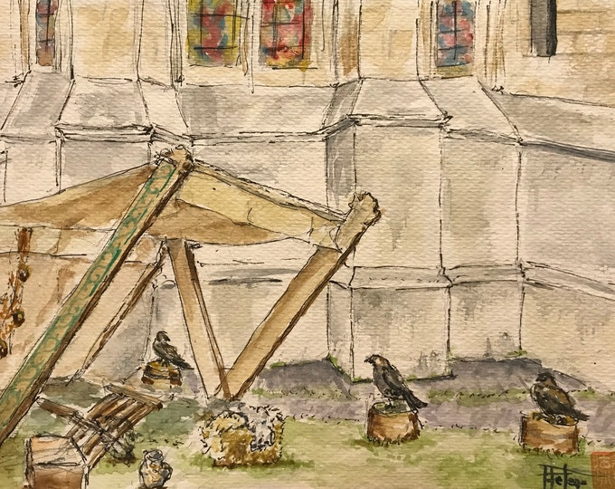 Original watercolor, falconer's stand. Hand-painted painting.