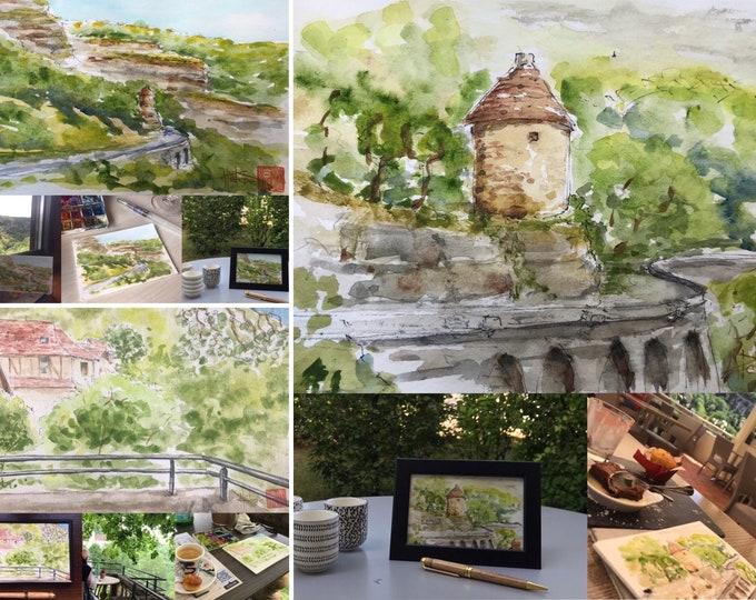Watercolors, postcard format, Rocamadour village, originals. Original hand painted paintings.