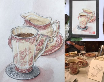 """Original hand-painted watercolor, theme """"English tableware"""". format 10.5x14.5cm (4.13x5.70Inches)."""