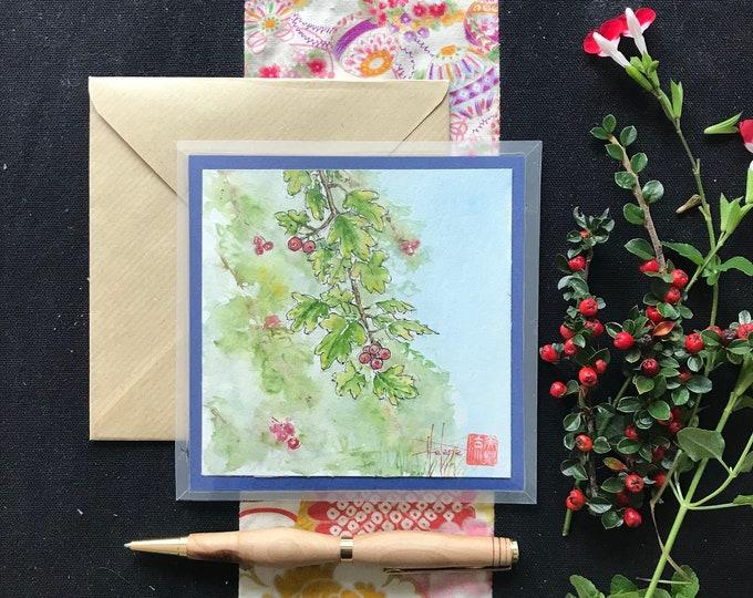 Carte florale peinte à la main. Avec rabat en enveloppe