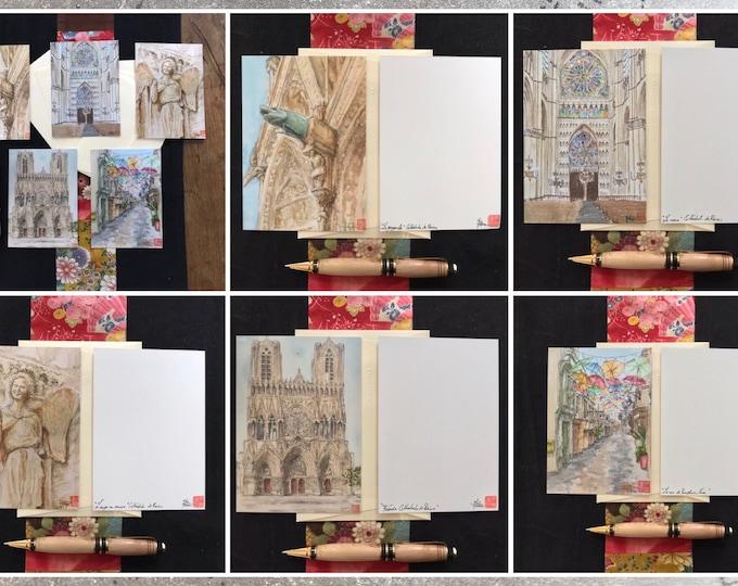 """Cartes postales """"cathédrale de Reims"""", imprimées d'après mes aquarelles, signées."""