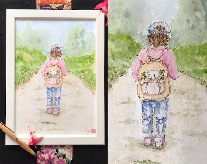 Aquarelle originale, format A4, le chemin et l'enfant. Tableau peint à la main.