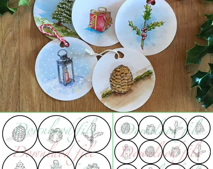 impression à colorier, Kit décoration de Noël.