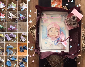 Personalised Birth Box. watercolor portrait on request and knitting birth and origami. For birth gift baby swower.
