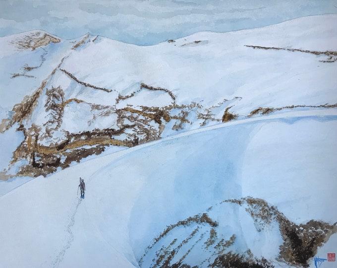 """Aquarelle originale peinte à la main """"liberté"""" dans les alpes."""